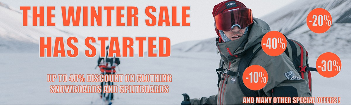 UP TO 40% DISCOUNT ON CLOTHING SNOWBOARDS AND SPLITBOARDS !